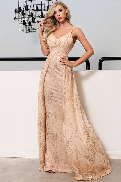 overskirt sequins evening dress