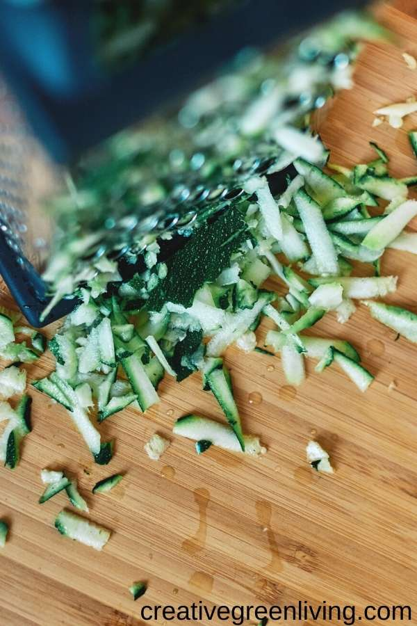shredded zucchini for gluten free chocolate zucchini bread