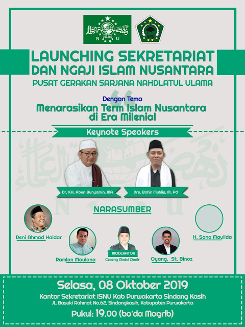 ISNU Purwakarta resmikan Sekretariat besok. Islam Nusantara jadi tema
