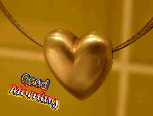 Beautiful good morning photo image with golden heart