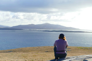 Sitting on top of Berneray looking over the sound of harris