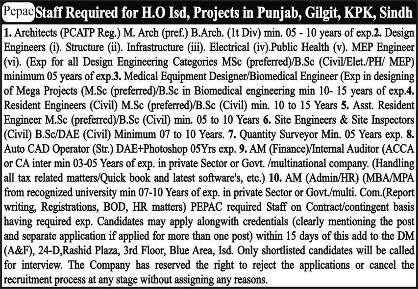 Pakistan Environmental Planning and Architectural Consultants (PEPAC) Jobs 2021 in Pakistan