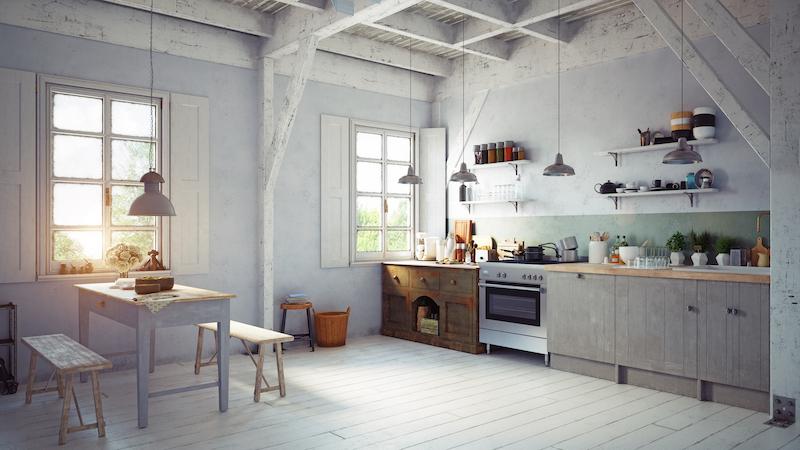 Cocina rústica con muebles y paredes pintadas en dos colores