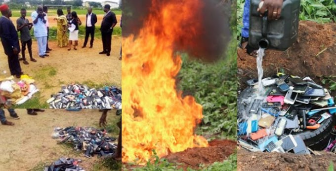 QUICKLY READ: Poly Ibadan management burns all the phones seized from students during examination