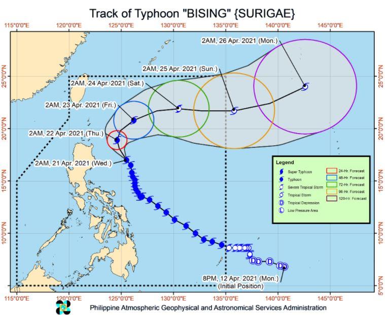 Typhoon 'Bising' track April 21, 2021