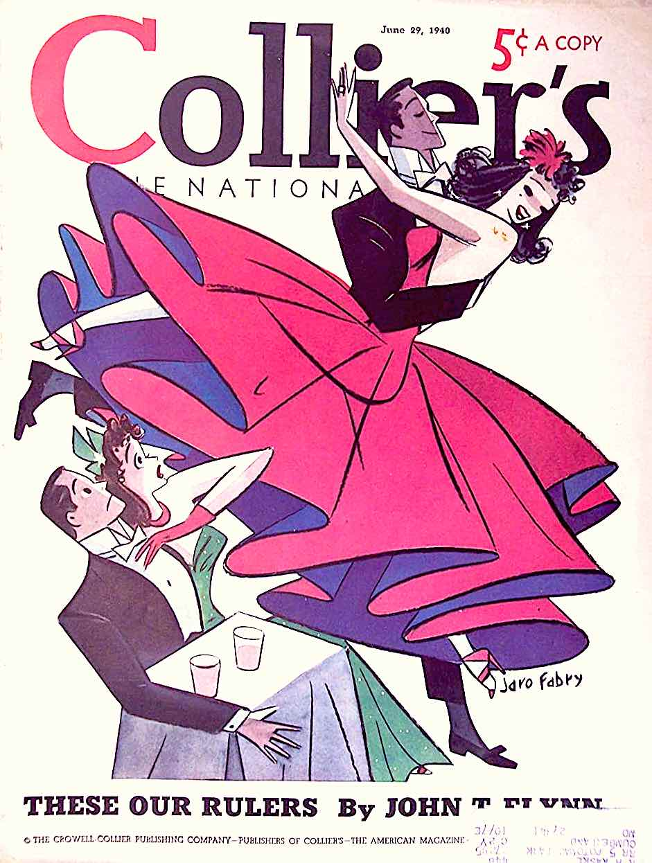 a Jaro Fabry illustration for Collier's June 29 1940, an exuberant couple dancing