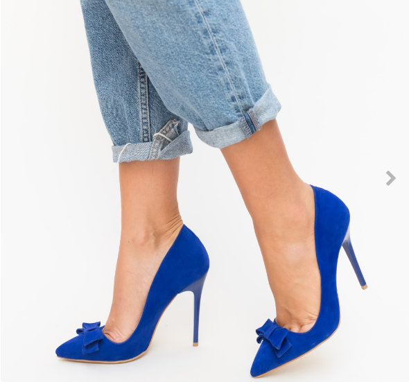 Pantofi albastri cu fundita si toc inalt eleganti din piele eco intoarsa