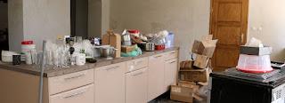 Boxes of kitchen stuff unpacked