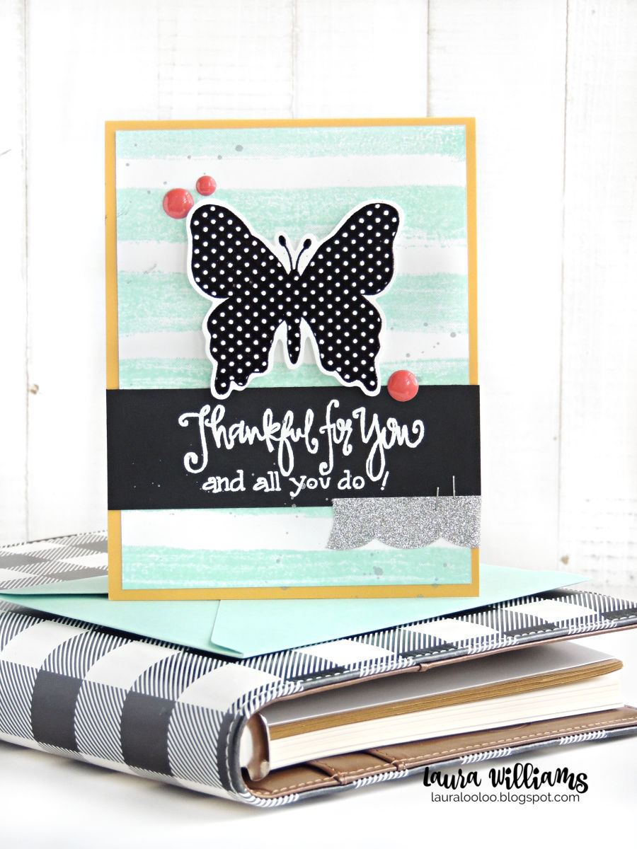 Make a simple thank you card with a striped background and a bold stamped polka-dot butterfly, using stamps from Impression Obsession. Visit my blog to see all the details and more information about this handmade card making project.
