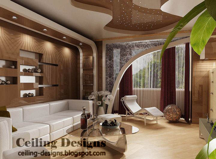 brown reflective pvc ceiling design for living room with lights