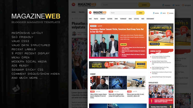Magazineweb Responsive Blogger Template
