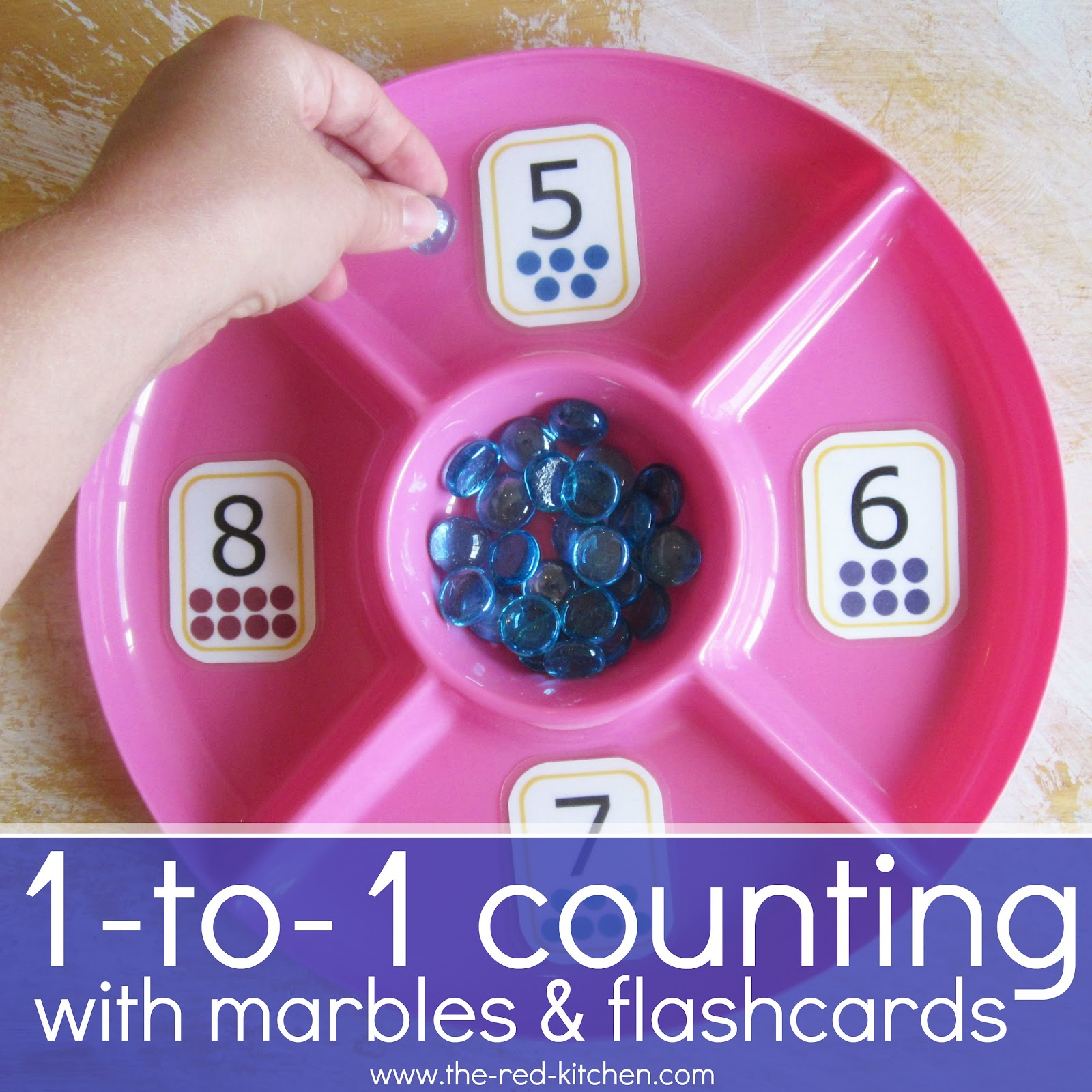 The Red Kitchen One To One Counting With Marbles Amp Flashcards Preschool Activity