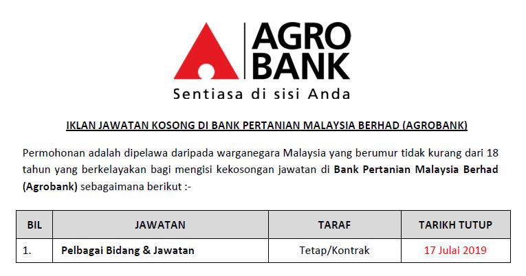 Jawatan Kosong Di Bank Pertanian Malaysia Berhad Agrobank Ejawatankini Com