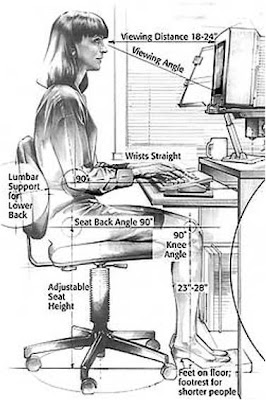 Correct posture while sitting at computer