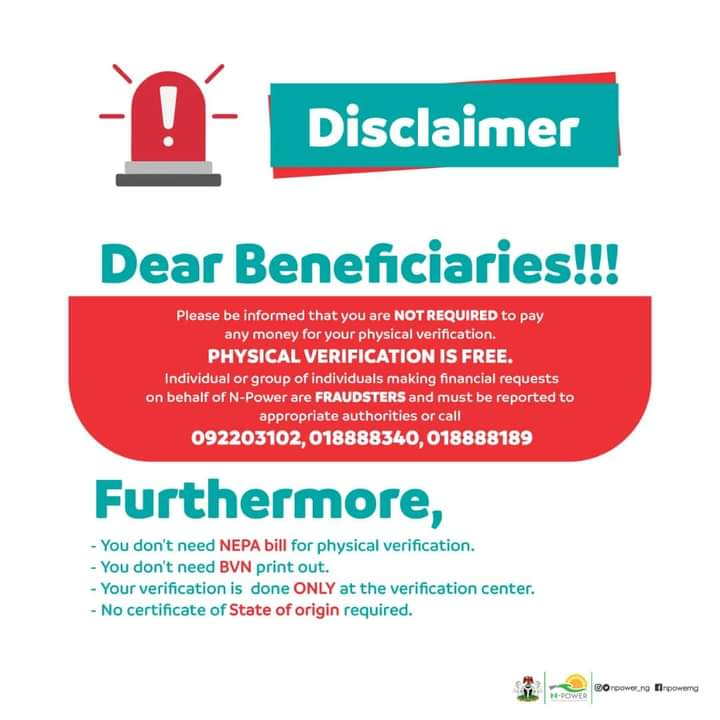 NPOWER PHYSICAL VERIFICATION IS FREE: If You're Batch C1 Beneficiary Read This Information