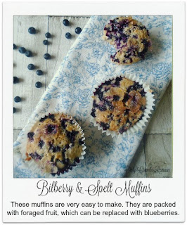These easy to make muffins make great use of foraged fruit.  The bilberries, similar in appearance to blueberries, are generously packed into the bake bringing a wonderful aroma and flavour.
