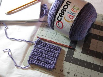crochet, yarn, Caron Cakes, gauge swatch