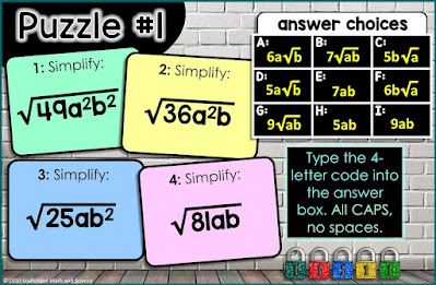 Simplifying Radicals with Variables Digital Math Escape Room