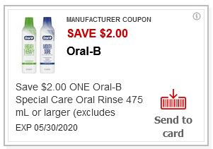 LOAD $2,00/1 Oral-b Special Care Oral Rinse CVS APP ONLY MFR Coupon (go to CVS App)