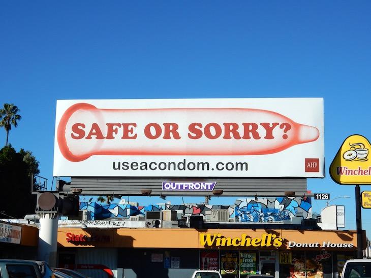 Safe or Sorry condom billboard