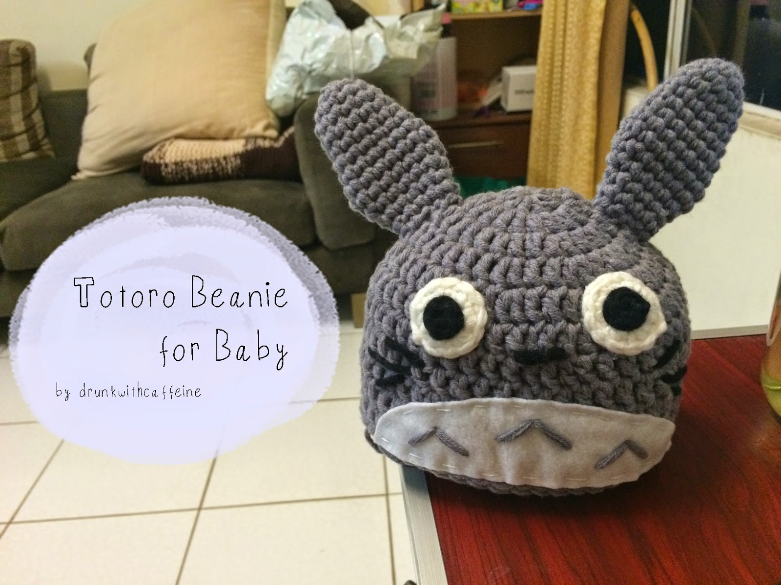 Crochet Pattern Totoro Hat : Drunk with Caffeine: Crochet Pattern Totoro Beanie for ...