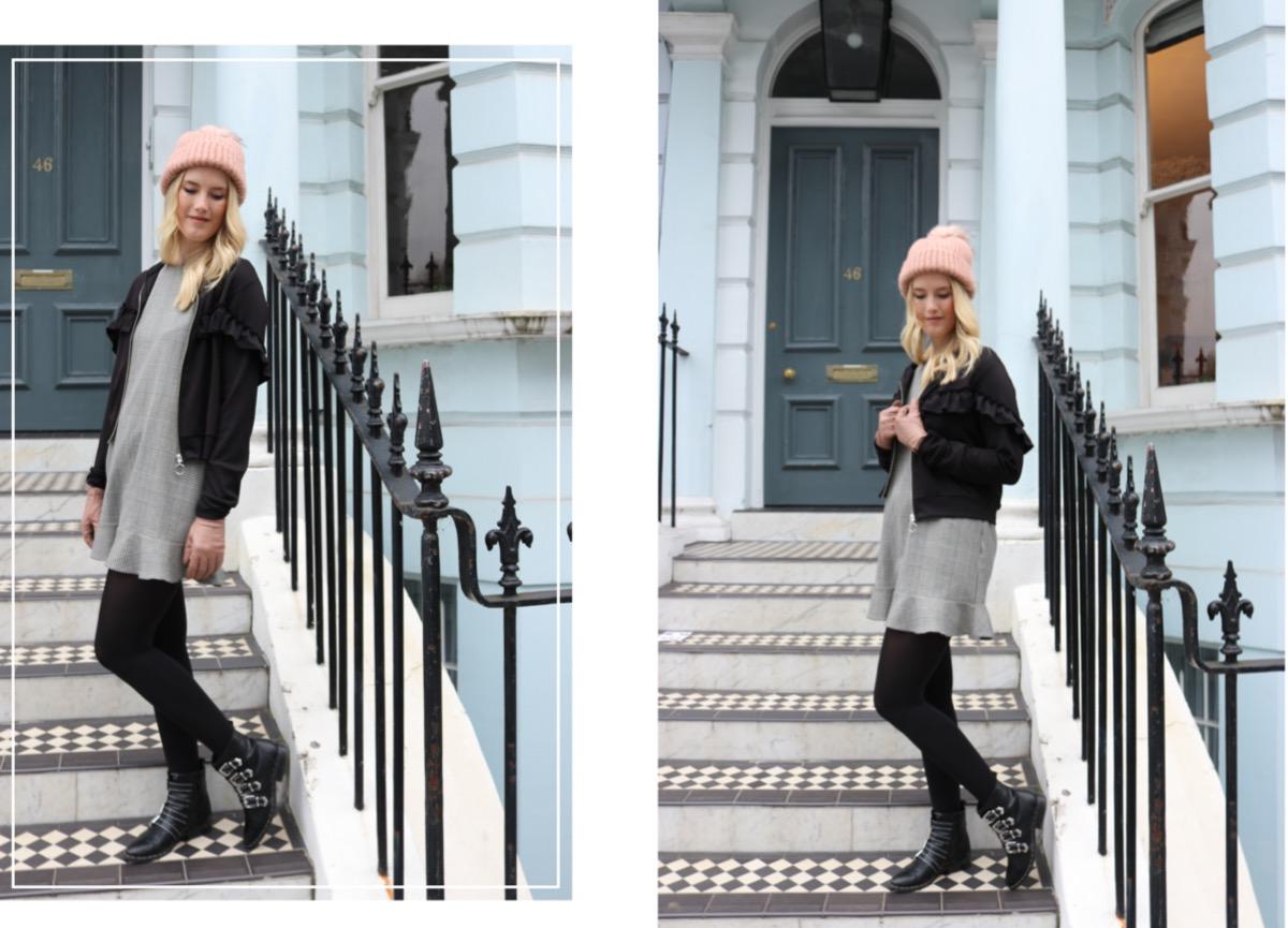 Fashionblogger Stuttgart Blog Outfit Bomberjacke Rüschchen Gambettes Box Kariertes Kleid Beanie London Notting Hill