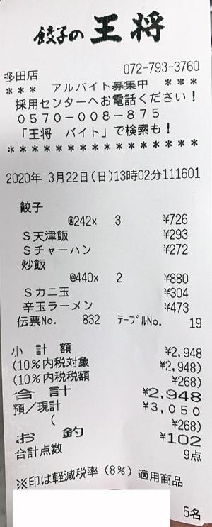 餃子の王将 多田店 2020/3/22 飲食のレシート