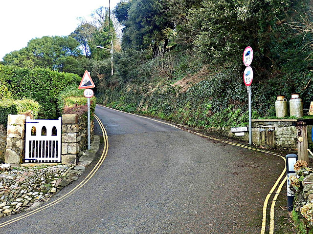 Hill leading out of Pentewan village, Cornwall