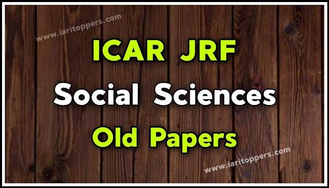 ICAR JRF Social Sciences Old Papers PDF Download