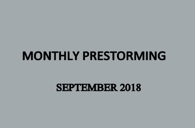 UPSC Monthly Prestorming - September 2018 for UPSC Pre 2018