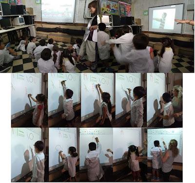 Imágenes de los niños bailando y escribiendo en la pizarra digital