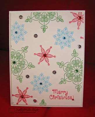 Colorful Snowflake CAS Christmas Card by Crafty Math Chick | Beautiful Blizzard & Beautiful Baubles stamp sets by Newton's Nook Designs
