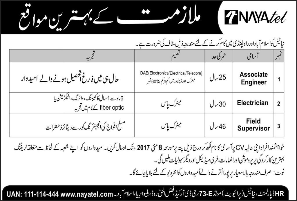 Jobs In Naya Tel Islamabad  For Electricion 30 april 2017