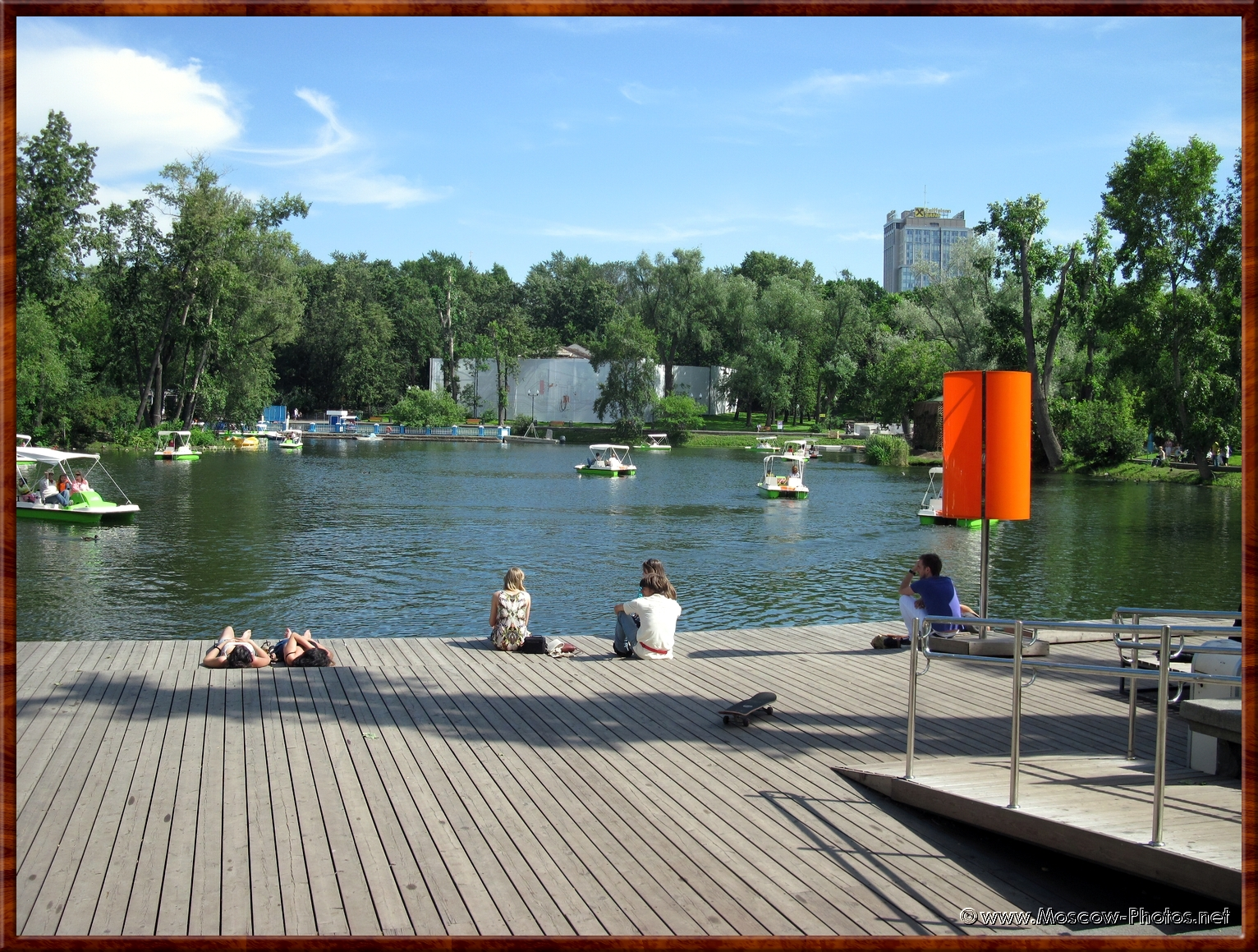 Nice pond in Gorky Central Park of Culture and Leisure