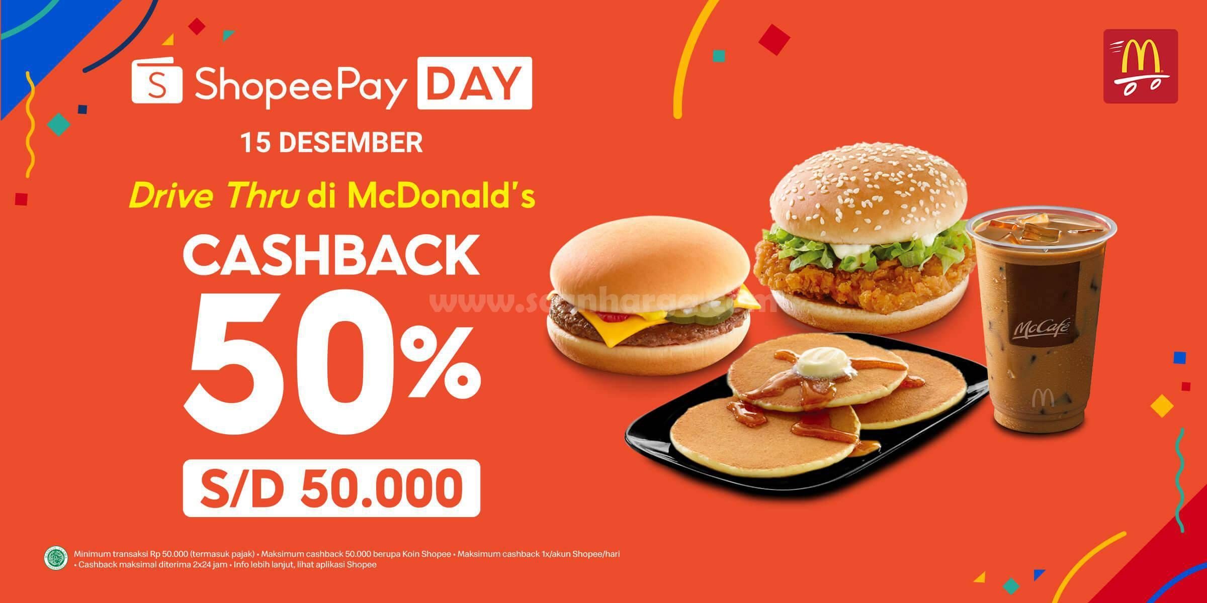 McDonalds Promo cashback 50% Bayar Pakai ShopeePay