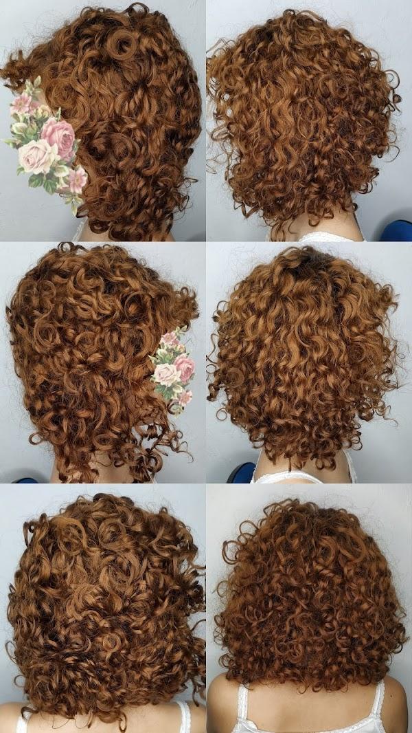 cabelo cacheado 2c3a ruivo desbotado touca de cetim antes e depois