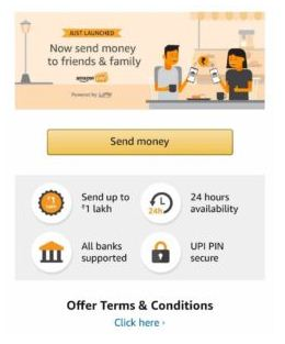 Amazon UPI Send Money Offer