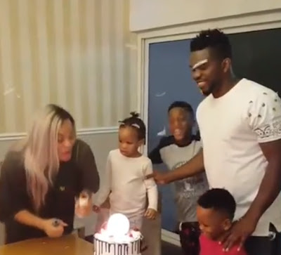 Photos: Joseph Yobo Celebrates His Birthday With His Wife, Adaeze And Kid