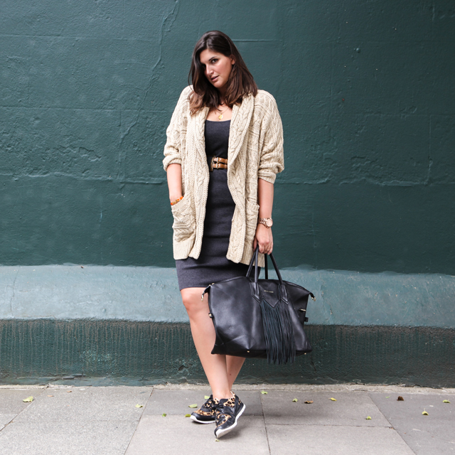 Emily Johnston, Fashion Foie Gras in UGG leopard trainers..