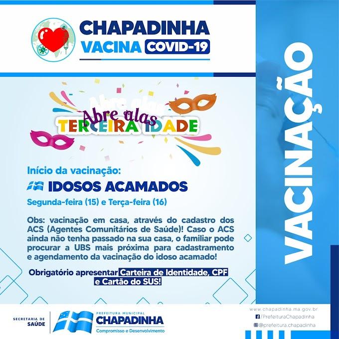 Prefeitura de Chapadinha vacinará os idosos acamados contra covid-19.