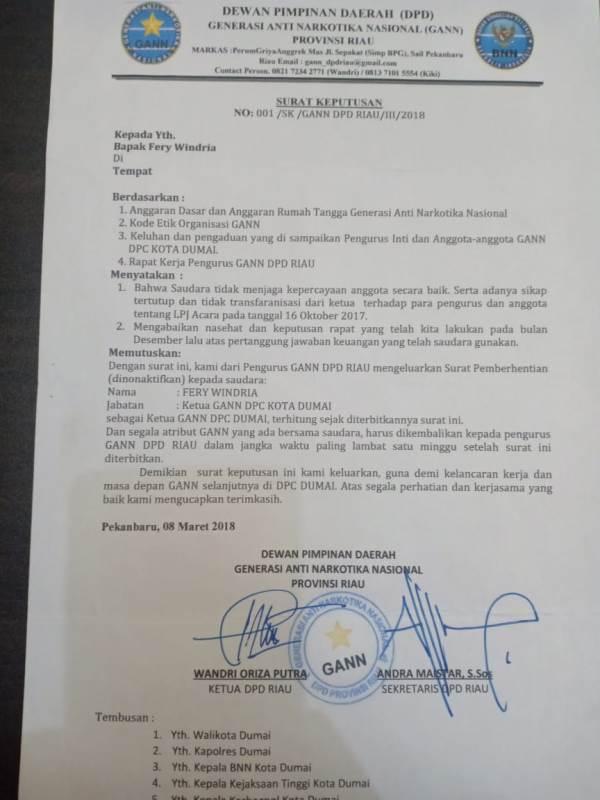 SK Pengakatan Ketua DPC GANN Dumai Tidak Sah, Golan Lubis Angkat Bicara