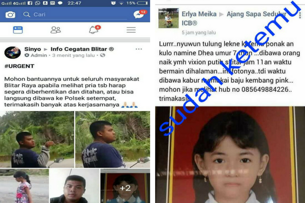 Berkat Grup Facebook `Info Cegatan Blitar`, Aksi Penculikan Anak Terungkap
