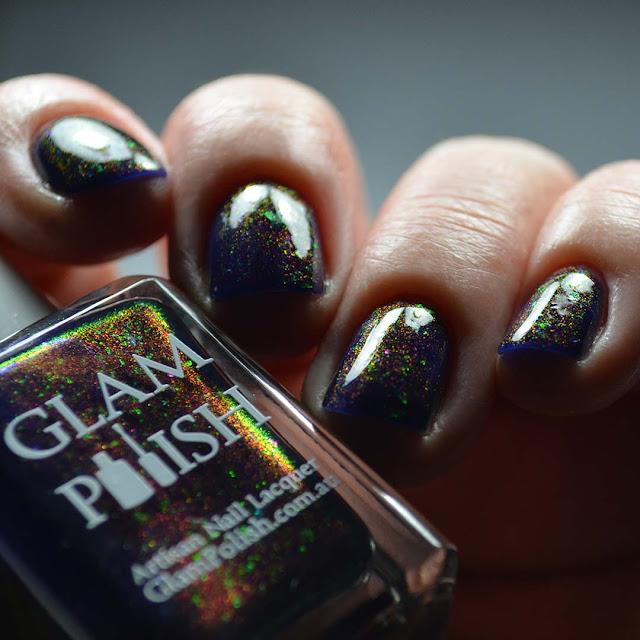 purple color shifting nail polish low light swatch