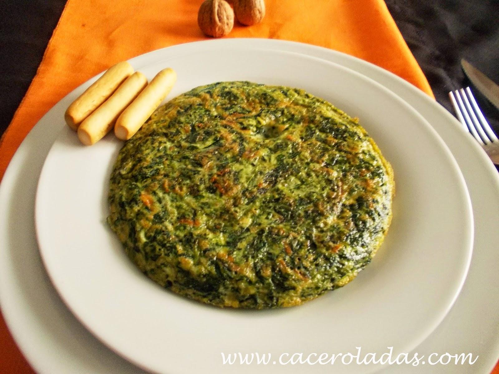 Tortilla de espinacas con nueces y jamón