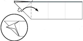 Bước 8: Mở lớp trên tờ giấy tại vị trí mũi tên trắng ra, kéo và gấp từ phía trái sang phải