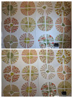 Fan blocks set as wheels are arranged on the design wall in two ways