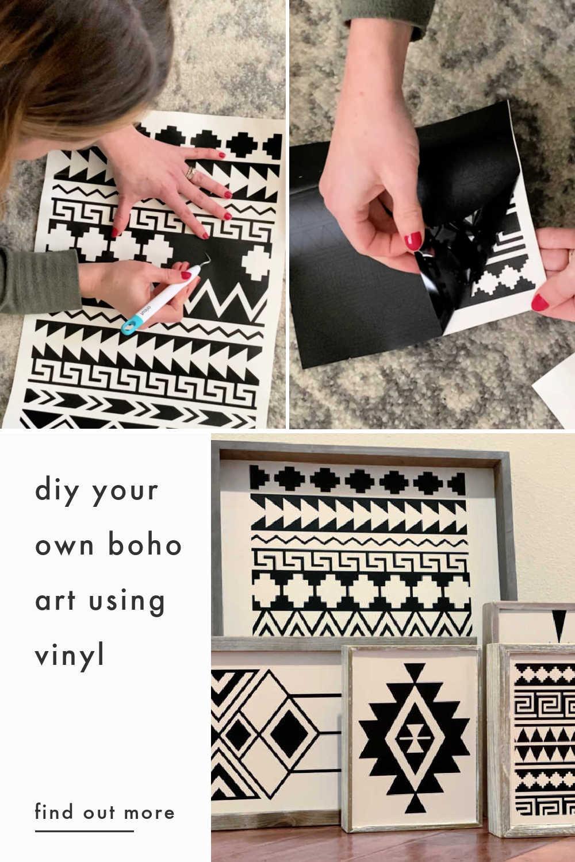 diy boho art using cricut vinyl