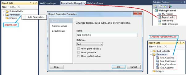 Create Parameter in RDLC Report