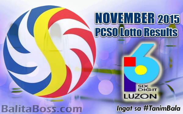 Image: November 2015 6-Digit PCSO Lotto Results