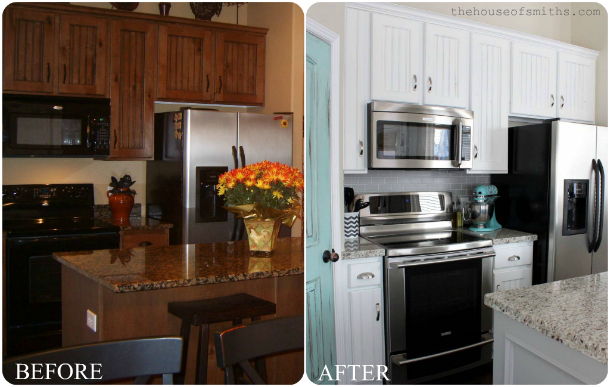 Before after kitchen makeover revisited for Painting kitchen countertops before and after